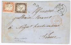 Italy – Kingdom of Sardinia, 1859, Letter sent from Cluses (Haute-Savoie in the Kingdom of Sardinia) to France – Sassone no. 14Ac + 16Ab