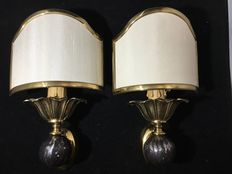 Maison Jansen style-brass and steel wall lights, 1970s, France