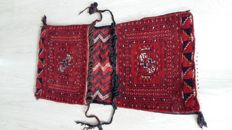 Old oriental hand-knotted double saddlebag from Afghanistan