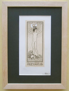 Graph; framed ex libris with the presentation of a naked young man in art deco style - 1920s/1930s