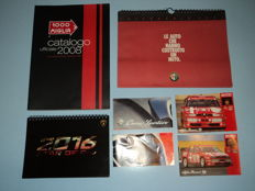 1992 Alfa Romeo calendar, calendar Lamborghini 2016, No. 2 original Alfa Romeo postcards period 90s, Alfa Romeo brochure period 90s and official 1000 Miglia 2008 catalogue.