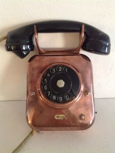 Antique copper telephone and bakelite handset - Netherlands - first half of 20th century.