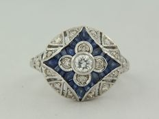 14k white gold ring with sapphire and brilliant cut diamond ***** no reserve price *****
