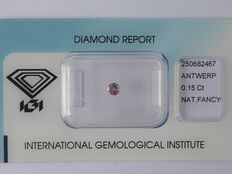 Pink colored diamond 0.15 ct with IGI certificate       ***No  reserve***