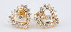 Heart yellow gold diamond earrings - 1.00ct in total **no reserve price**