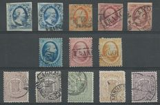 The Netherlands 1852/1871 – King Willem III and National coat of arms – NVPH 1(2x), 2(2x), 3, 4/6, 13/15, 17/18