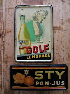 2 advertising signs of look-' Golf ' Lemonade-1936 and ' STY ' Pan-Orange juice-1947.