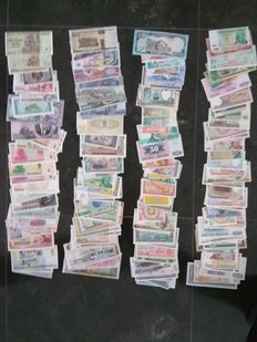World – Collection of approx. 200 different banknotes from all over the world