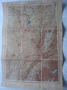 """German Empire; Old original operational map of the German general staff, """"Journal of Metz"""" only for use in service, from 1917 1st World War"""