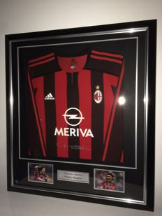 Paolo Maldini. Signed and Framed 2003-04 AC Milan Player Issue Shirt. In Deluxe Black Frame With Silver Inlay + COA inc Photoproof.