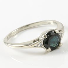 Estate 14kt White Gold Ring Set With Diamonds and Sapphire