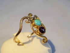 Golden ring with rose garnet and turquoise