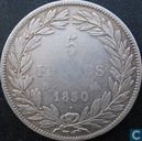 France 5 francs 1830 (Louis Philippe I - Incuse text - B)