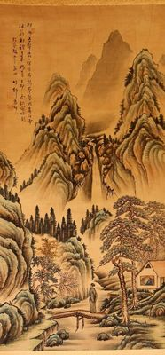Scroll painting of a Chinese mountain landscape that includes a waterfall, a house with people, a river and a bridge, signed by 竹邨 (Chikuson, 1864-1922). Includes wooden storage box - Japan - ca 1910