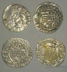 Hungary – Denar 1342-1382 through 1576-1608 (4 different coins) – silver