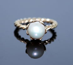 Pandora - 14K Yellow Gold Ladies Ring With Freshwater Pearl and Diamond ( 0.02 CT )