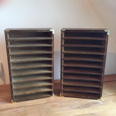 2 Old postal sorting box for letters - wood and copper
