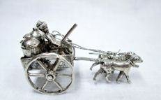 Silver miniature dogcart with two dogs