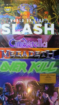 Over Kill / Megadeth / Cinderella / Slash (former guitarist of Guns n' Roses): Great lot of 4 albums (5LP's) including 3 limited, numbered and out of print editions on coloured 180 gram vinyl!