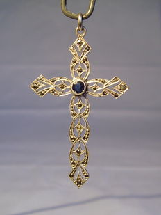 Cross pendant with blue coloured stones and marcasites