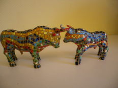 Cow Parade - Resin - set of 2 cows in mosaic