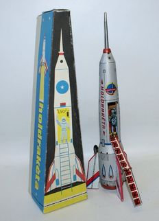 Lemezarugyar, Hungary - Length 40 cm - Tin Moon Rocket with battery motor, 1980/90s