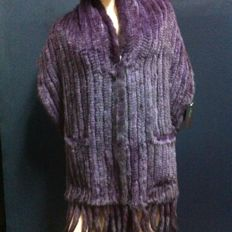 Wrap - Mink fur - Tricot detailing with pockets