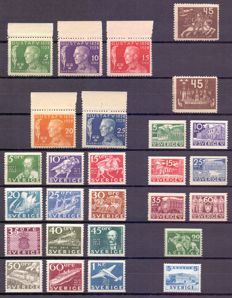 Sweden 1924/1941 - Composition of stamps and series - between Yv 186 and 289