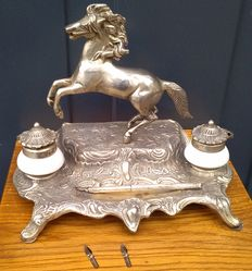 Silver plated bronze or brass inkstand with horse and silver fountain pen