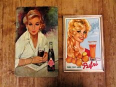 2 soft drinks cardboard advertising signs-' Pufri ' pure fruit juice-1963 and ' Royal Crown Cola ' ca. 1963.