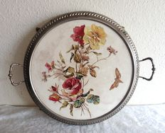 Earthenware large tray decorated with roses and butterfly
