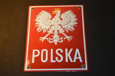Rare Polish border sign, enamel, end of XX century