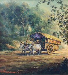 Oil paint on canvas signed Voorneman - Indonesia