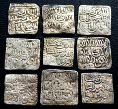 Spain. Square dirhams from the Almohad period, 545-635 AH (1150-1238 AD). 9 coins.