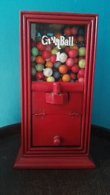 Old gumball & candy dispenser - wood and glass - 20th century