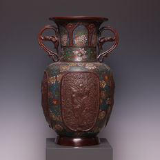 Beautiful bronze cloisonne vase with ears and 5-clawed dragon - Japan - circa 1900