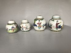 4 Chinese porcelain ginger jars, famille rose decoration – China – mid 20th century