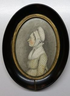 Dutch School-two portraits of a man and a woman-miniatures in watercolor and pen-circa 1780/1800
