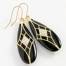 Estate 14kt Yellow and White Gold  Earrings with Onyx