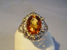 Ring with real citrine and seed beads