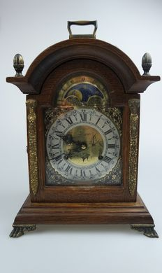 Oak table clock with moon phase and bell striking mechanism - Franz Hermle - 80s