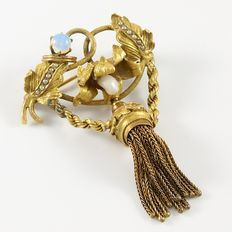 Vintage 10kt yellow gold  brooch/pendant with opal and fresh water pearl,  from the 1900's