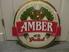 Amber Grolsch biet emaille bord