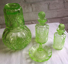 Brockwitz Art Deco uranium glass toiletry set