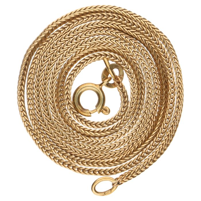 Yellow gold foxtail link necklace – 50 cm