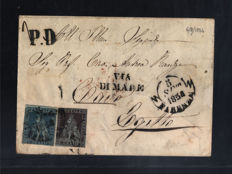 Italy - Tuscany 1854-2 Crazie + 9 crazie used on envelope from Florence to Cairo