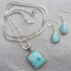 925 silver Byzantine link necklace with larimar pendant - matching earrings