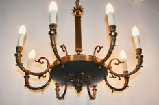Bronze French Empire style 8-arm chandelier, early 20th century, France.