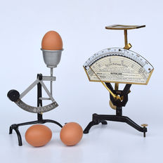 Unusual letter scale with postal charge indicator and egg scale from Germany - period 1930-1960.