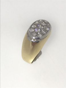 Yellow gold men's ring in 14 kt, gold set with diamond of approx. 1.00 ct - Size 19½